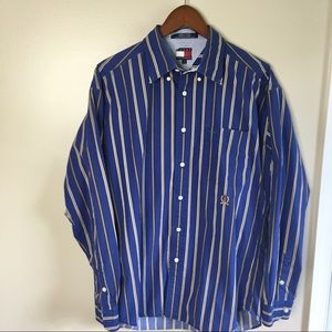 Tommy Hilfiger Stripe Blue Shirt /Buttons Size L